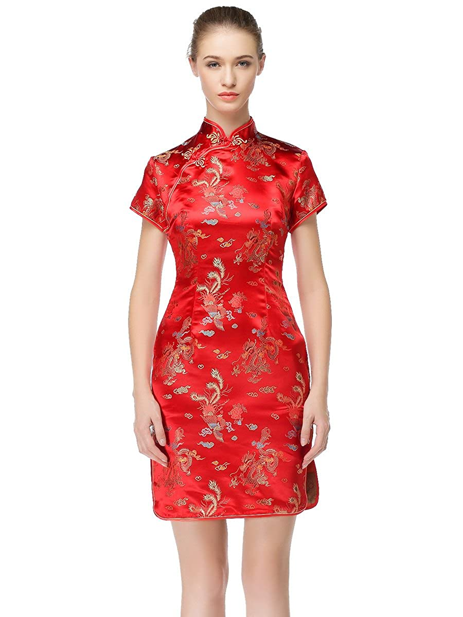 Bitablue Womens Mid-Length Brocade Dragon and Phoenix Dress