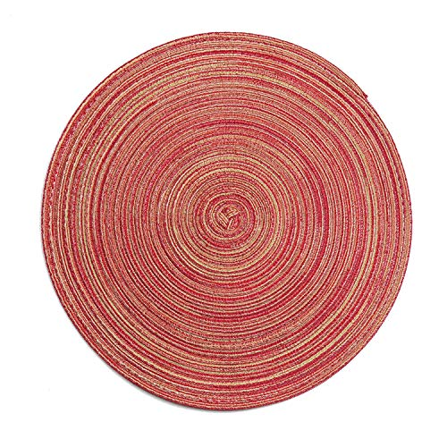 LOHAS Home 35cm Round Placemat Table Mat Set of 6 Braided Woven Placemats Washable for Kitchen Dining Table Party Gatherings (Burgundy)
