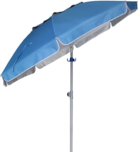 AMMSUN 6.5ft Patio Outdoor Umbrella with Push Button Tilt and Removable Fork Anchor, UPF 50 , Ideal Umbrella for Garden, Backyard and Outdoor Activities, Portable Easy Carry Bag Included Sky Blue