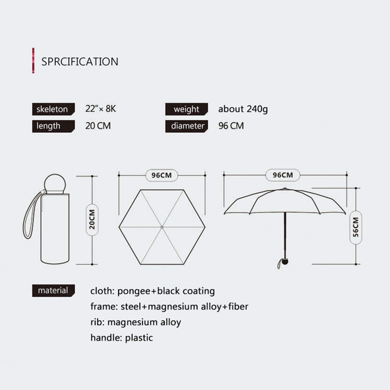 Sexy-Drunk Cute Mini Umbrella Cat Ultralight Pocket Five Folding Sun Protection Windproof Cartoon Umbrella Rain-Blue