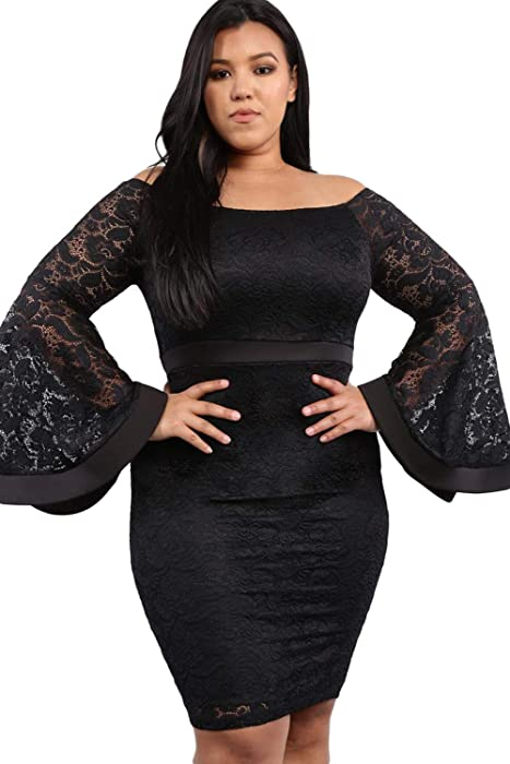 bc56b9b1b6340 Dear-Queen Plus Size Off Shoulder Long Bell Sleeve Lace Bodycon Dress Women  Autumn Slim