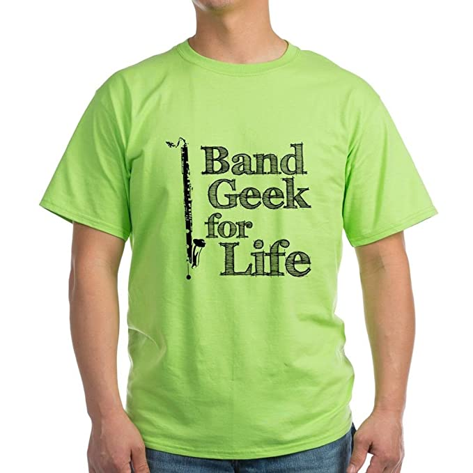 CafePress Clarinete Bajo Band Geek Verde camiseta