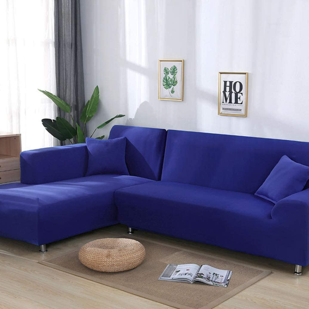 Royal Blue Tight Wrap Corner Couch Cover Elastic Universal L Shape Sofa Slipcover For Living Room Old Sectional Sofa Decoration Cover Home Kitchen