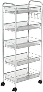 Moralty 5 Tier Mesh Rolling File Utility Cart Storage Basket,Home Kitchen Office GreyWheels Equipment Accessories Apparatus Machinery Appliance Gadget Instrument Tool riggadgetry appurtenances Gray