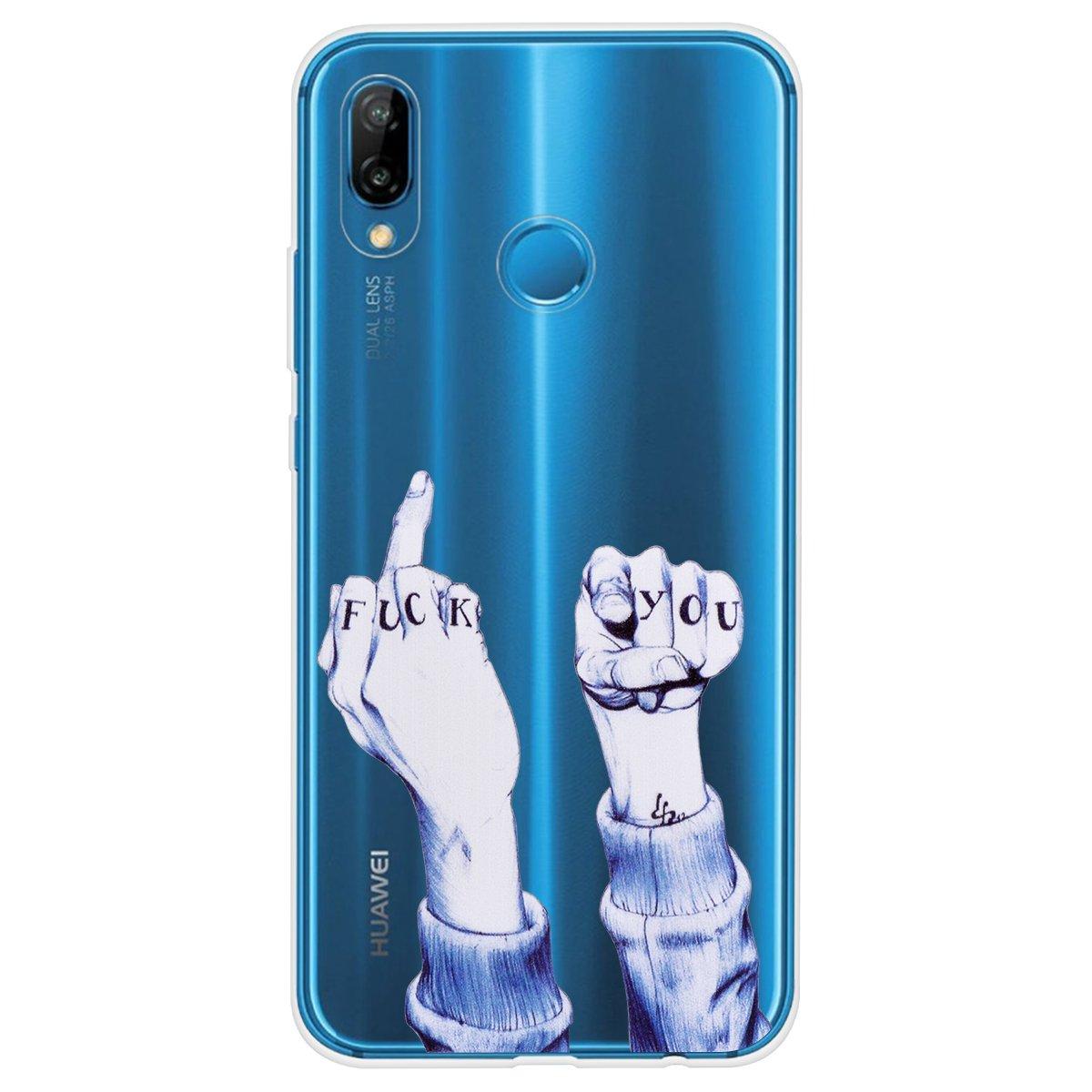 Vent Bel Chat Mignon Yokata 3X Coques pour Huawei P20 Lite Etui Silicone Souple /Étui Transparent Swag Gel Case Ultra Fine Mince Housse Antichoc Protection Motif Beau Panda
