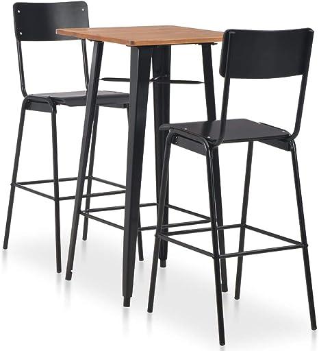 vidaXL Holz Bar Set Stahl Bartresen Tresentisch Stehtisch Bartisch 2 Barhocker