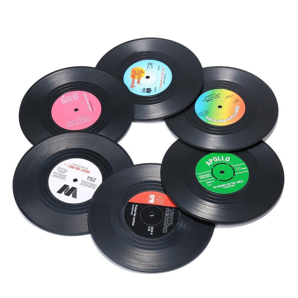6ピースレトロビニールレコードコースターmulti-styleクリエイティブアート車バーお茶コーヒーカップマット、ノンスリップ、カラフル、Tabletop保護   B07C3NSCKW