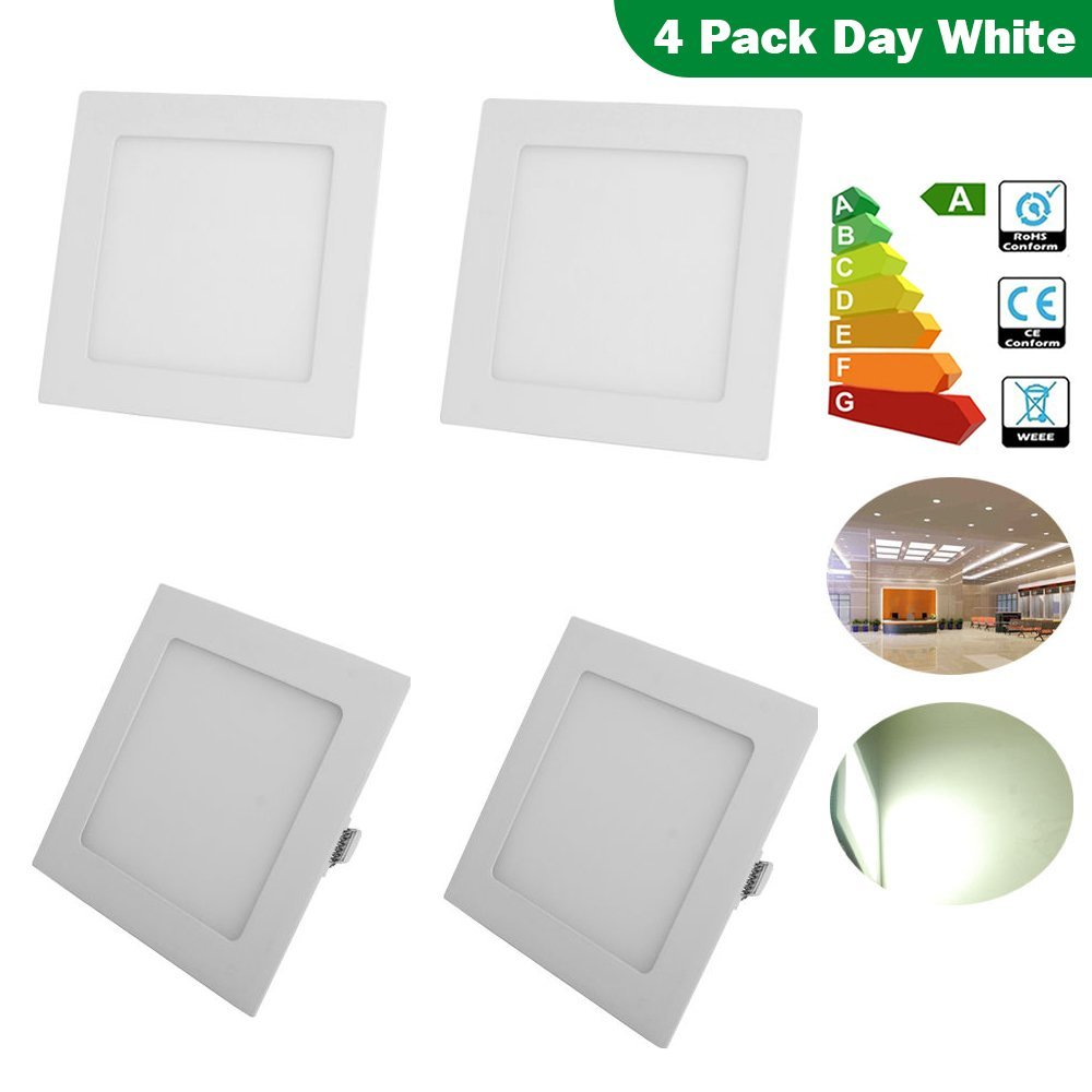Excellent 9 Inch Square LED Panel Light, 18W (120W Replacement), 6000K Daylight White, 1200 Lm, Retrofit LED Recessed Lighting Fixture, LED Ceiling Light Downlight, 4-Pack