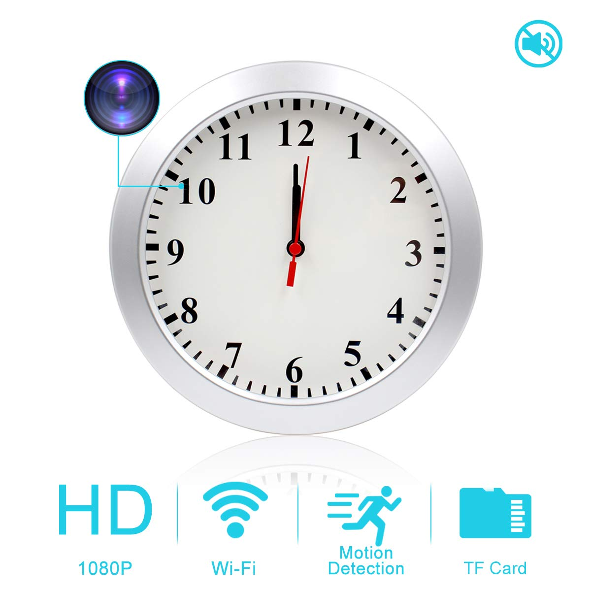 AMCSXH HD 1080P WiFi Hidden Camera Wall Clock Spy Camera with Motion Detection, Security for Home and Office, Nanny Cam/Pet Cam/Wall Clock Cam, Remote-Real Time Video, Support iOS/Android, Video only by AMCSXH