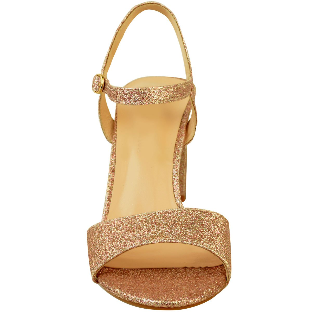 ed40c3ac5 Fashion Thirsty heelberry Mujer Tacón Bajo Fiesta Boda Sandalias de Purpurina  Zapatos Boda Baile Graduación Talla Ampliar imagen