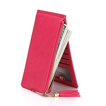 Xiaoqin Lady Leather Credit Card Holde Wallet Travel Mini Carteras/Titular / Bolso Tarjetero de Tarjeta de Embrague de Mujer (Color : Blue): Amazon.es: ...