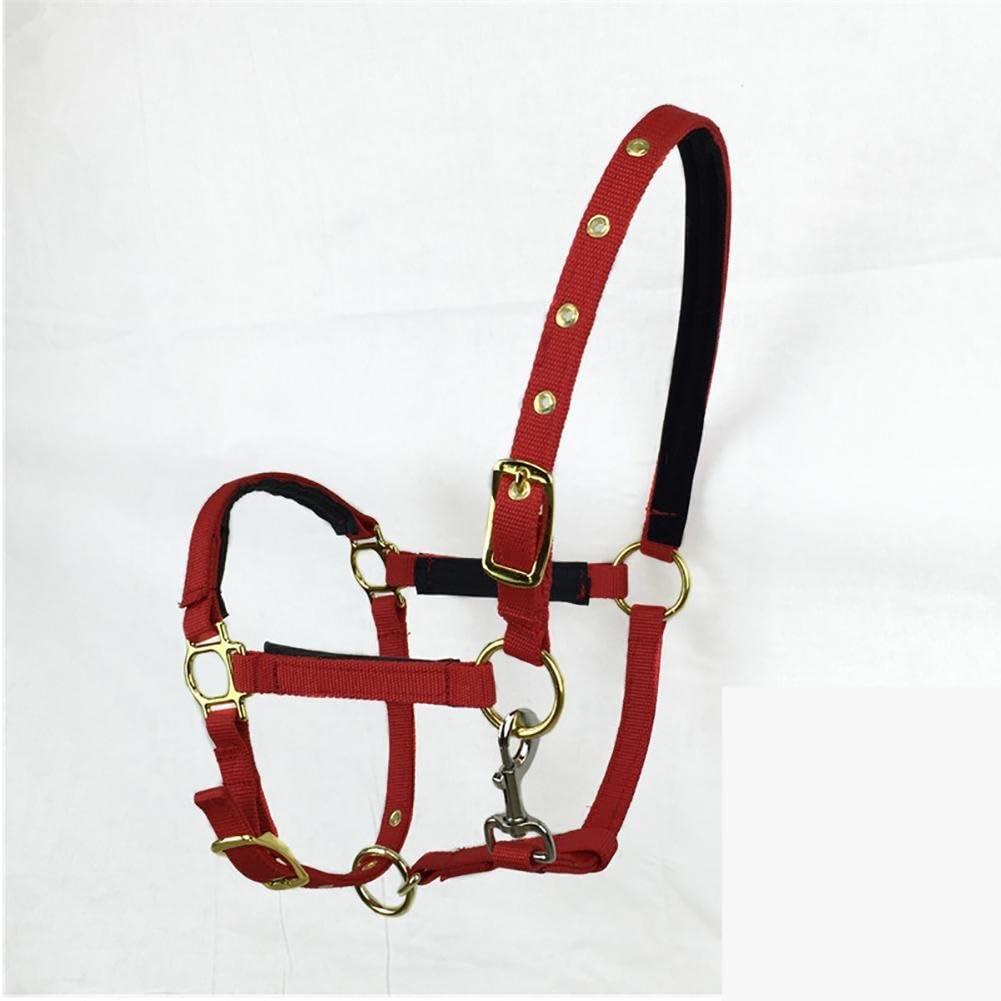 Breastplate Myyxt Equestrian Horses Leather Caballos ecuestres Bridas y riendas de Nylon (Doble línea de cartón), Rojo