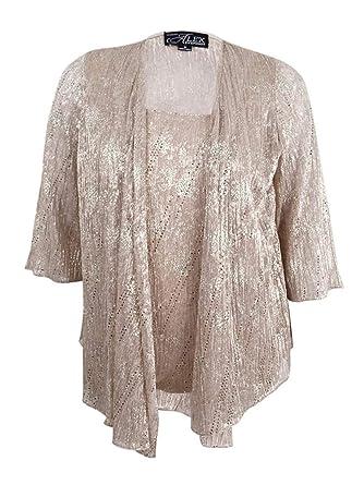 89e0c28b0de Image Unavailable. Image not available for. Color  Alex Evenings Women s Plus  Size 2 PC Metallic Shell   Jacket ...