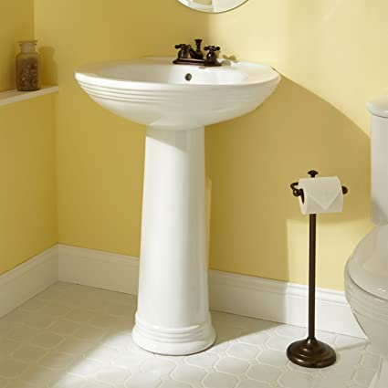 Naiture Porcelain Pedestal Sink With Chrome Finish Pop Up Bathroom Drain    1 1