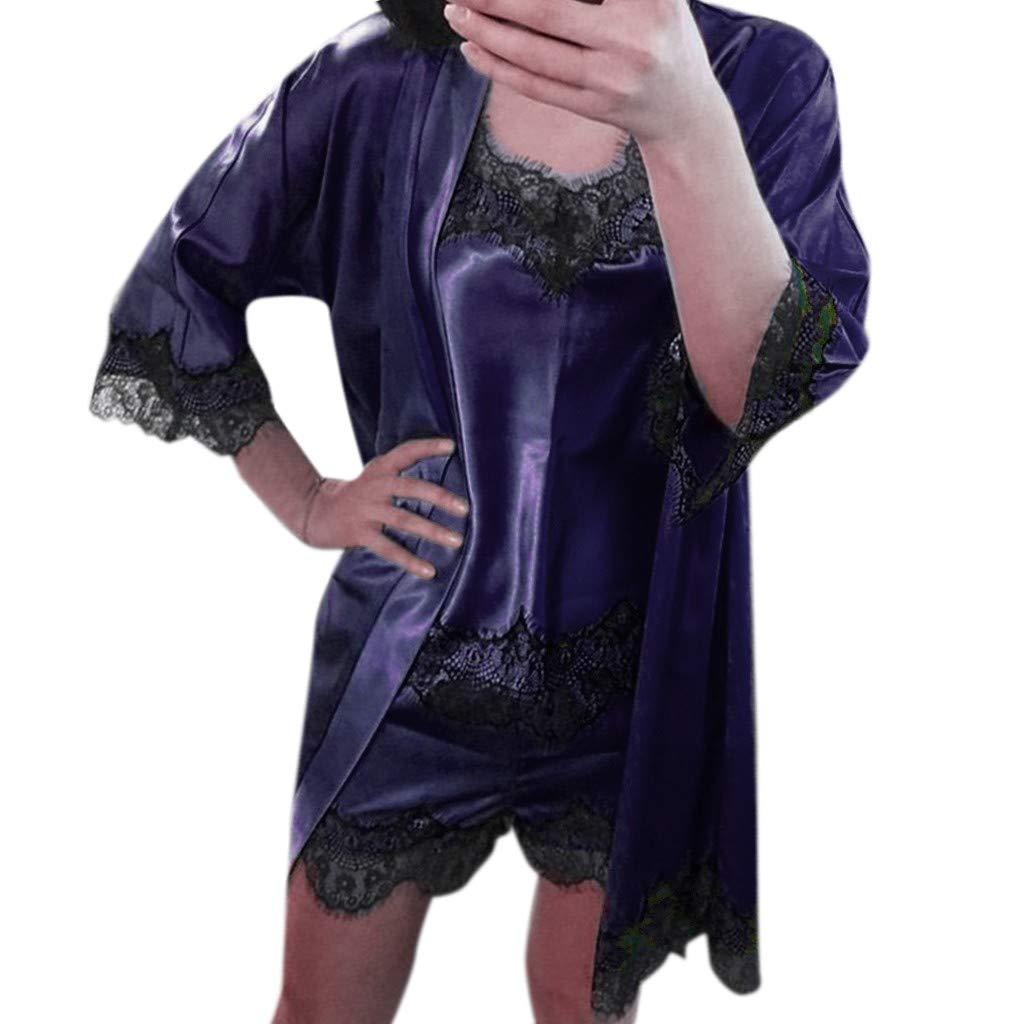Ruziyoog Women Satin Sleepwear Set Lace Babydoll Nightwear Sleeveless Strap Blue