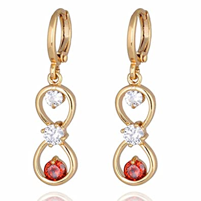 Yazilind Charming Smooth 18K Gold Plated Simple Style Inlay Round Cubic Zirconia Dangle Drop Earrings for Women pMgXNfx2