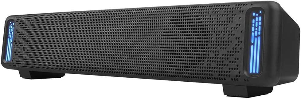 Computer Speakers, PHISSION USB Powered Sound Bar Dual Speakers with LED Light for Computer Smartphone Desktop Laptop PC, TV, Aux Input Black