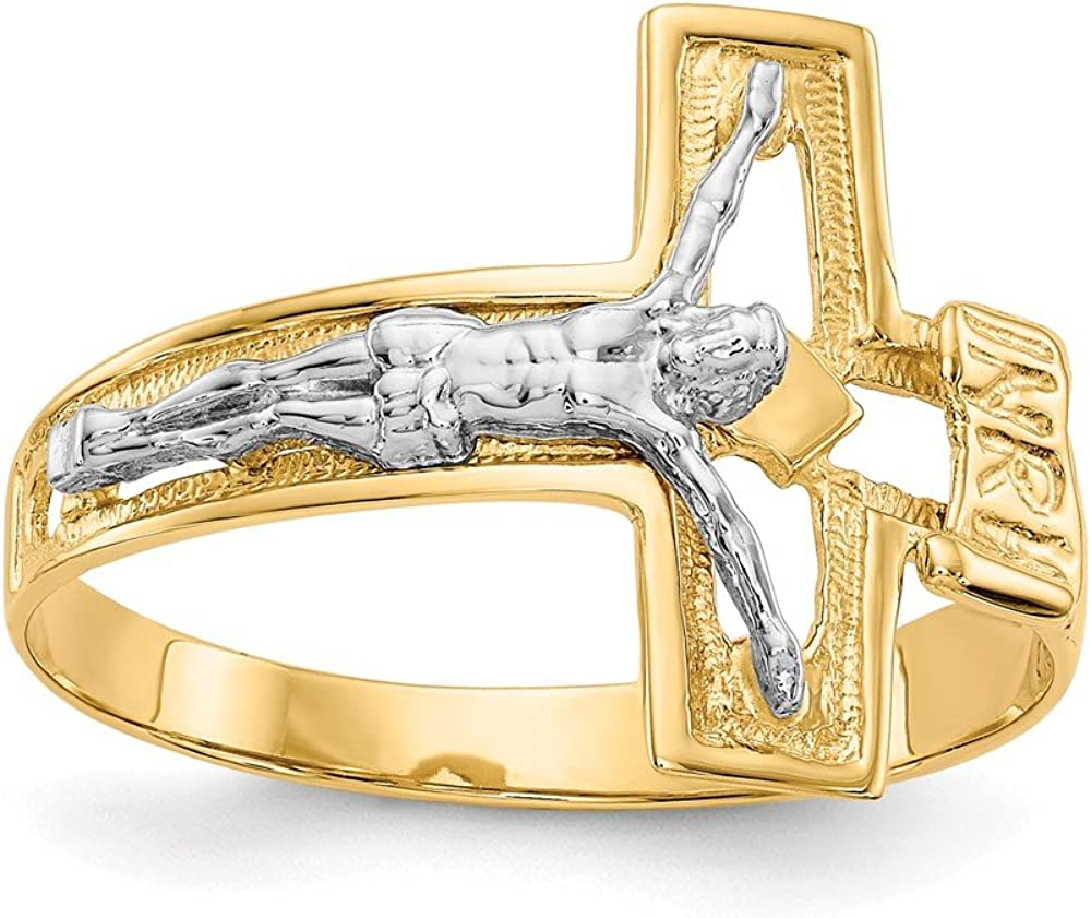 14k Two-tone Gold Crucifix Mens Ring Size 10 Fine Jewelry Ideal Gifts For Women