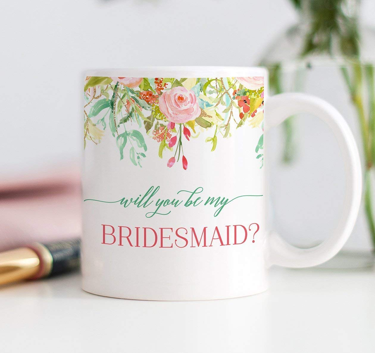 Gift Idea Asking Sister Best Girlfriends Bridal Wedding Party Elegant Pink Mint Flowers 11oz Ceramic Tea Cup by Digibuddha DM0106 Pretty Floral Bride Proposal Coffee Mug Will You Be My Bridesmaid