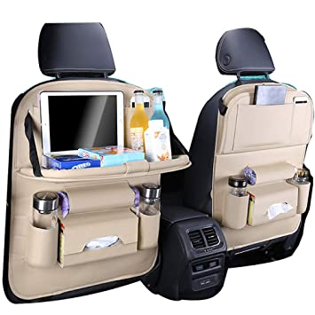 PU Leather Car Back seat Organizer for Babies Toys Storage with Foldable Dining Table Holder Pocket for Baby and Kids 1 Pack Car Back seat Organizer with Foldable Table Tray