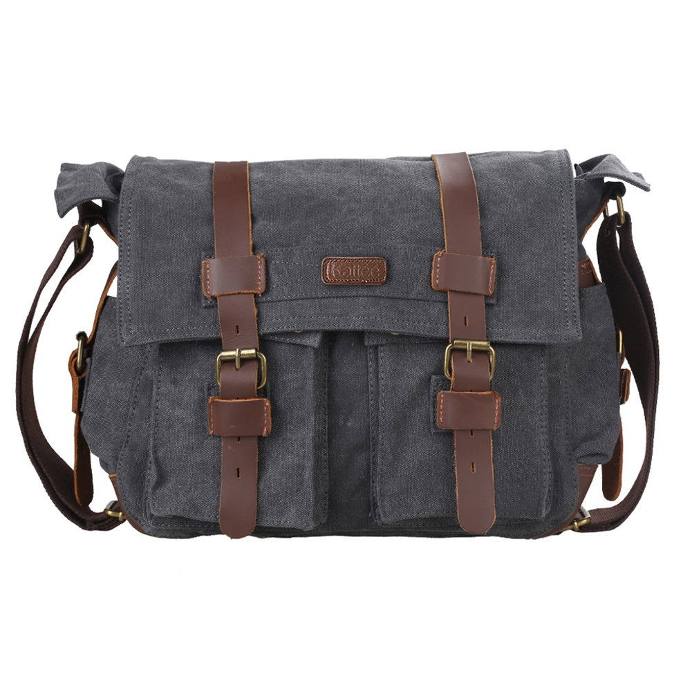 Kattee British Style Retro Unisex Canvas Leather Messenger Shoulder Bag Fits 14.7'' Laptop (Dark Grey)