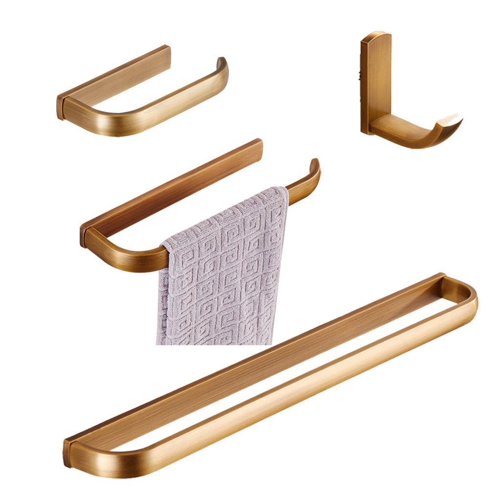 BigBig Hoom 4-Piece Brass Bathroom Accessory Set, Antique Brass Finish Towel Bar Toilet Paper Holder Towel Ring Towel Hook Wall Mount.