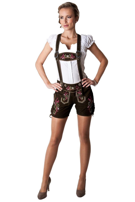Ludwig und Therese Damen Trachten Lederhose Melanie kurz braun 1522