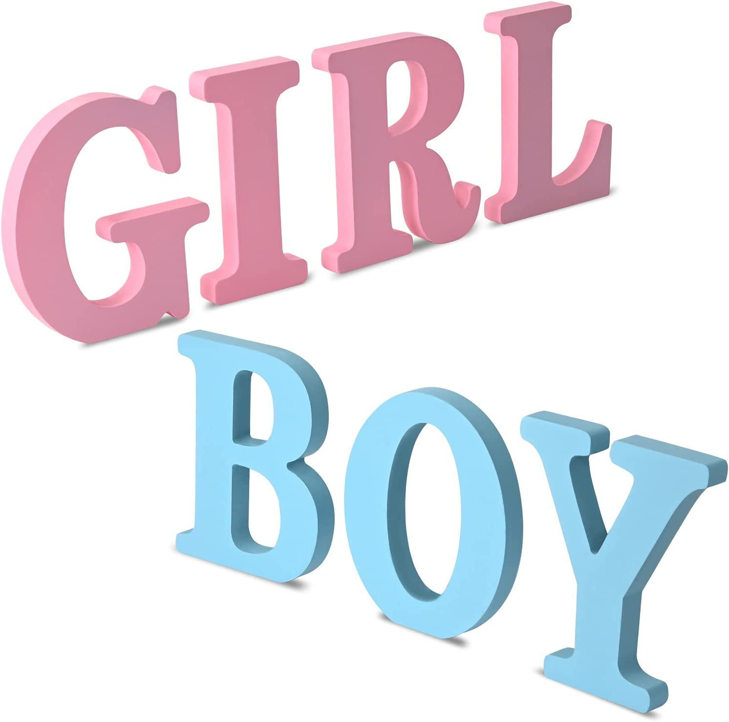 Gender Reveal Table Decorations, Boy Girl Letter Table Signs Blue and Pink Wooden Tabletop Decor for Gender Reveal and Baby Shower Party Supplies