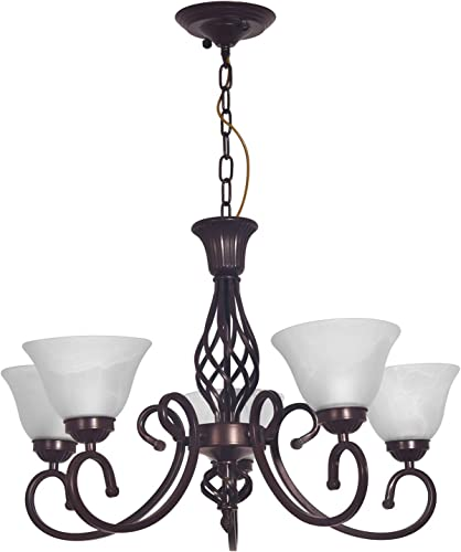 Yiweer 30 Inch Contemporary 5-Light Large Chandelier Alabaster Glass Shades, Adjustable Chain,Bronze Brown Hanging Light