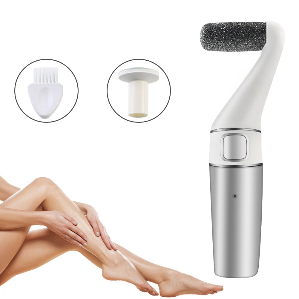 Eurobuy Electric Foot File, 3 in 1 Rechargeable & Waterproof Callus Remover Pedicure Tools Ideal for Dead, Hard and Cracked Skin with Extra Roller Head and Cleaning Brush