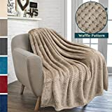#9: PAVILIA Premium Flannel Fleece Taupe Plush Throw Blanket For Sofa Couch | Textured Waffle Weave Pattern Throw | Warm Cozy Microfiber | Lightweight, All Season Use | 50 x 60 Inches