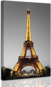 """DekHome Paris Cityscape Canvas Wall Art Eiffel Tower at Night Canvas Picture Giclee Print Gallery Wrap Modern Home Decor Framed Ready to Hang 24""""x36"""""""