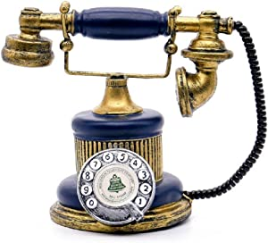 1Pack 7-1/2Inch X4Inch Antique Telephone Creative Retro Decorative Phone Resin Rotary Dialing Telephone Decorating Cafe Bar Window Decoration Home Decoration Props (Blue)