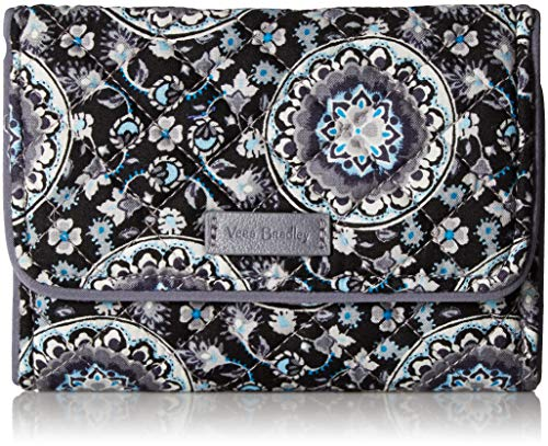 Vera Bradley Iconic RFID Riley Compact Wallet, Signature Cotton, Charcoal Medallion