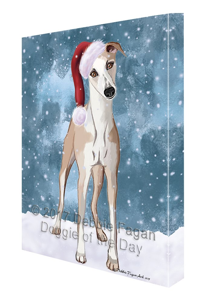 5bbb71752ff28 Amazon.com  Let it Snow Christmas Holiday Whippet Dog Wearing Santa Hat  Canvas Wall Art (8x10)  Paintings