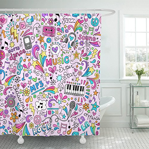 TOMPOP Shower Curtain Tween Music Rock and Roll Star Groovy Doodles Design Teacher Waterproof Polyester Fabric 72 x 78 Inches Set with Hooks (Rock Star Shower Curtain)