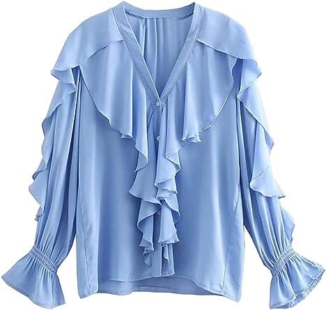 Mujer Blusa Camisa con Volantes Manga Trompeta Ajustada Color Sólido Cuello En Elegante Top: Amazon.es: Ropa y accesorios