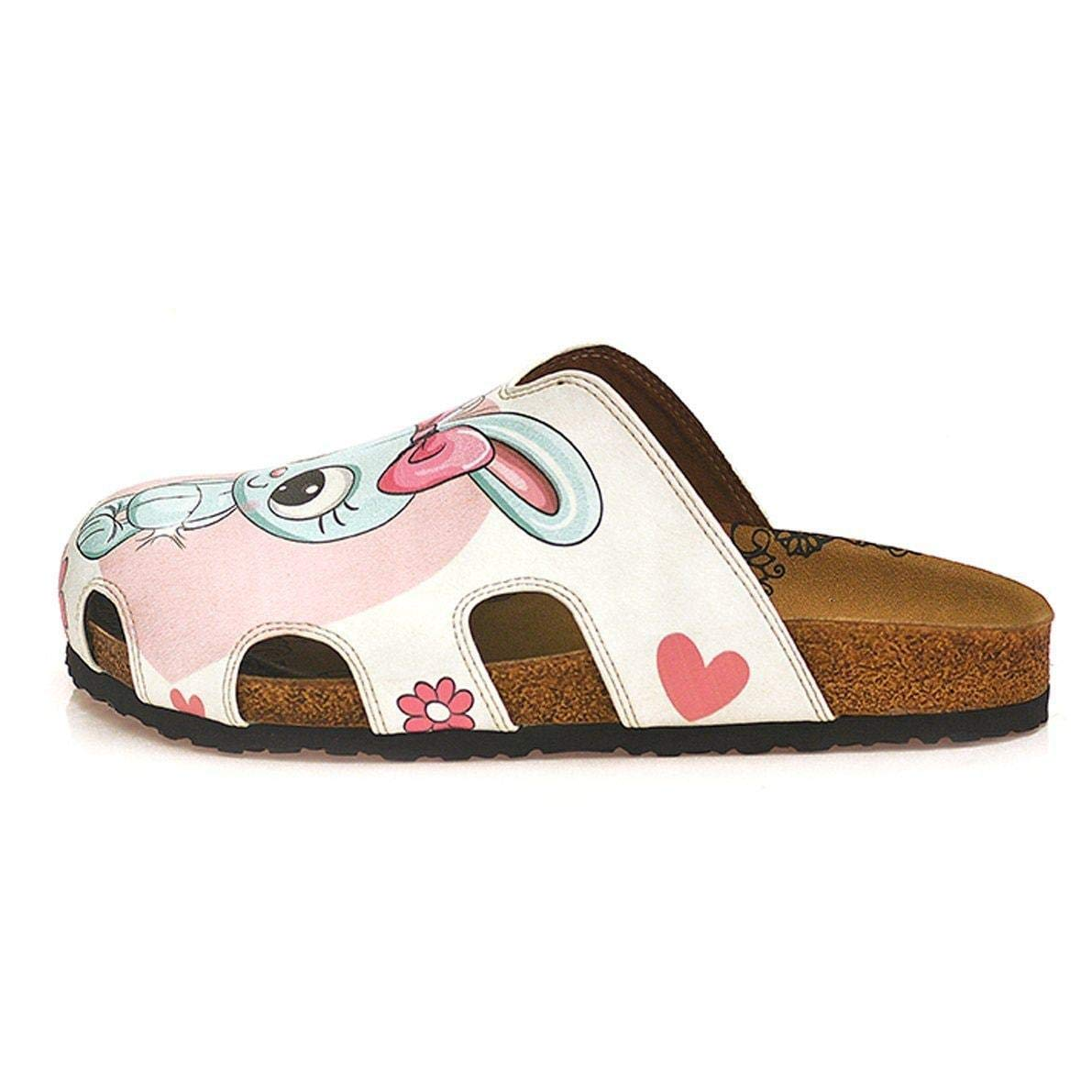 Pink and Gray Bunny Love Clogs WCAL601