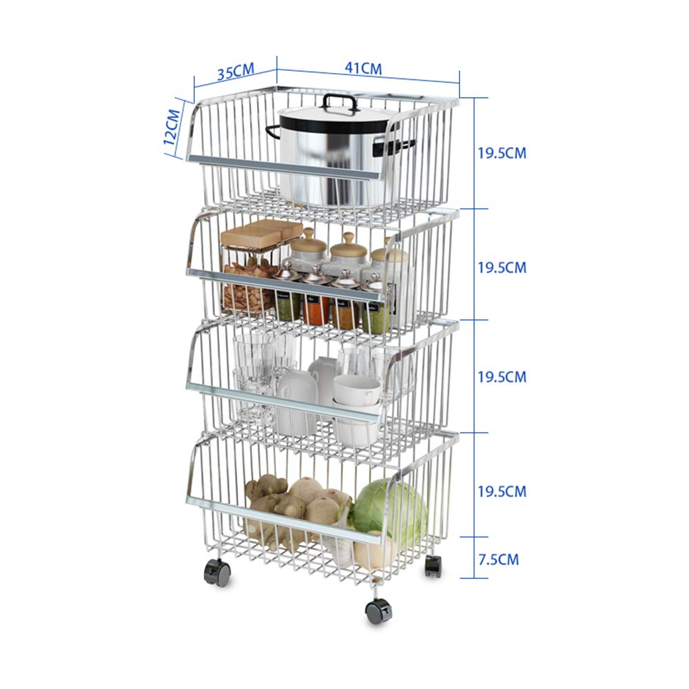 Kitchen shelf HUO Multi-Function Rack 2/4 Layer Removable Storage Cart Thick 304 Stainless Steel Combination Stacking Match Multifunction (Size : 413585.5cm) by Kitchen shelf (Image #4)