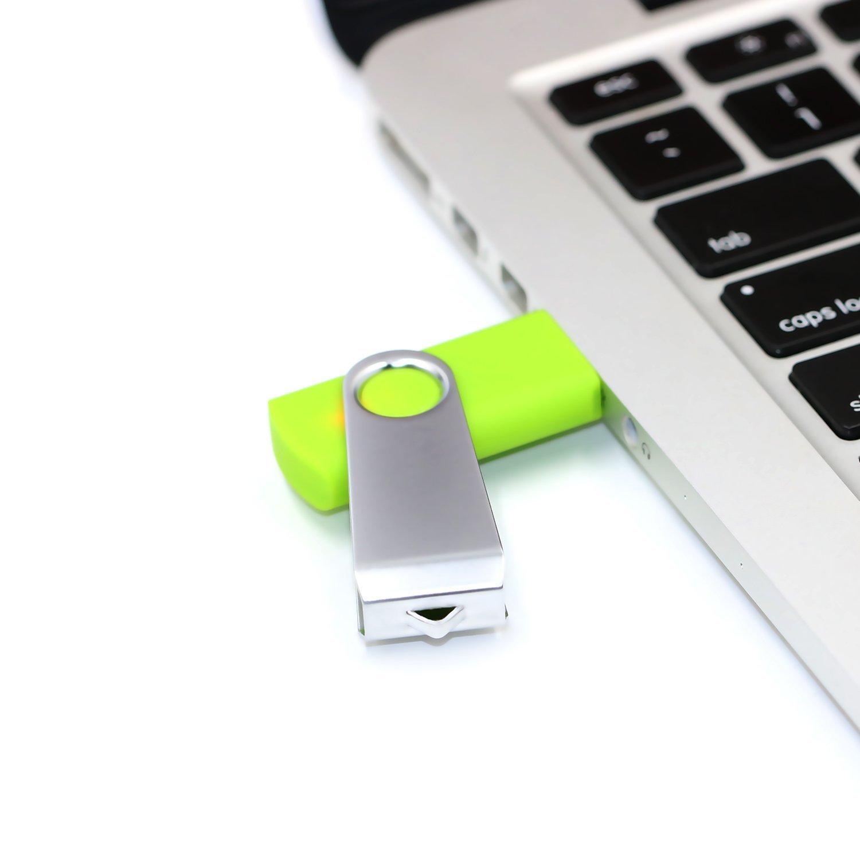 USB Stick, 5 Bunt USB-Stick 16GB Stück Speicherstick 2.0 Mini Rotate Metall Pack (5 Mischfarben: Schwarz, Blau, Grün, Rot, Violett )