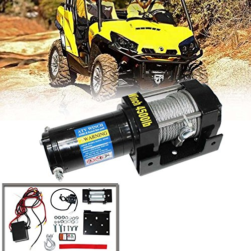 Gevog 4500lb 12V Electric Recovery Winch for UTV ATV Boat Wireless Remote 4500lbs