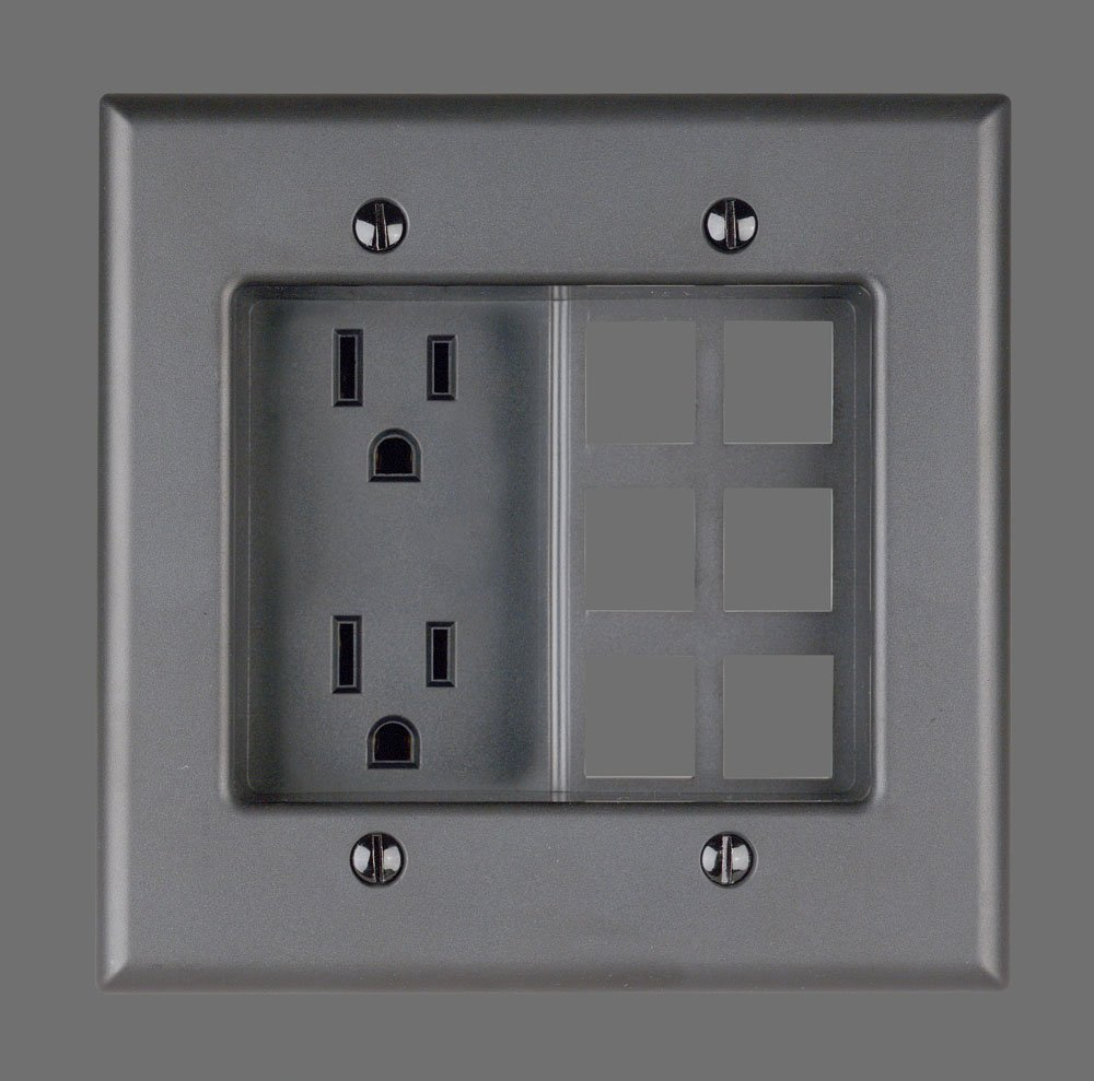 Leviton 690 W 15 Amp 2 Gang Recessed Device With Duplex Receptacle Wiring Cat 6 Faceplate And Quickport Plate Residential Grade White Electric Plugs