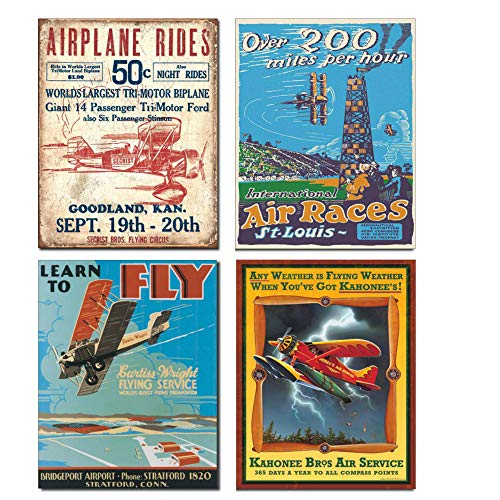 - Vintage Airplane Tin Sign Bundle - Airplane Rides Secrist Flying Circus, St. Louis Air Races, Learn to Fly and Kahonee Air Service
