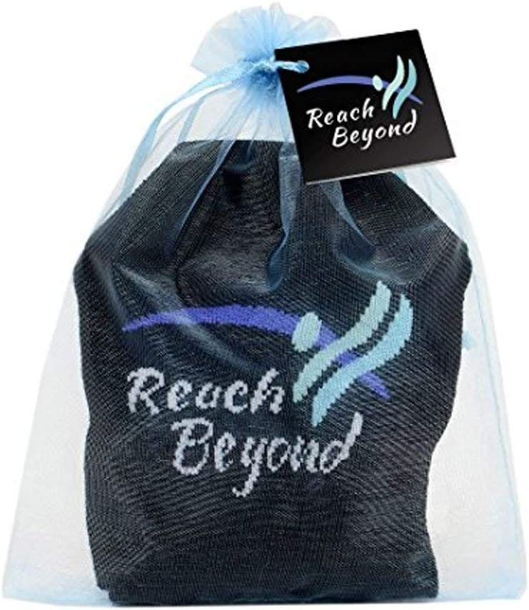 つま先Talk Reach Beyondノンスリップグリップソックスヨガの瞑想& Tai Chi 黒 With Teal and 青 Jacquard With an Aqua Organza Gift Bag One Size Fits Most Women With Shoe Sizes 6-10 US