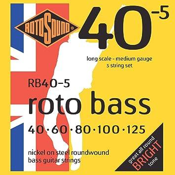 Rotosound - Cuerdas para bajo (entorchado redondo, calibres: 40 60 80 100 125): Amazon.es: Instrumentos musicales