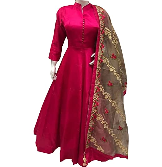 a37fb4e40f Sai creation Women's Silk Pink A-line Long Party Wear Semi-Stitched Salwar Suit  Gown(SCn_X_505_Pink_Free Size): Amazon.in: Clothing & Accessories