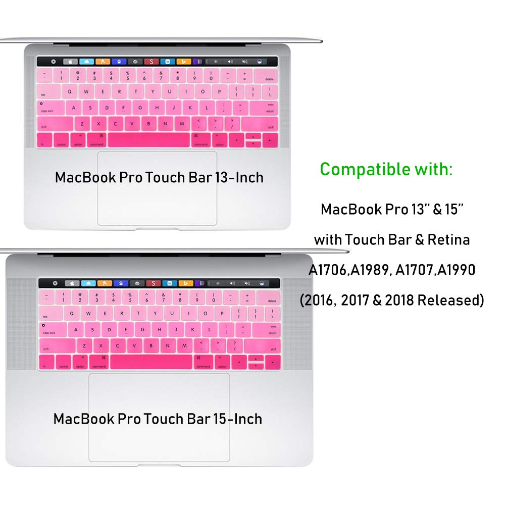 Model A1706, A1707, 2016 2017 2018 Released Fade in Blue ProElife Ultra Thin Blue Gradient Ombre Keyboard Protector Cover Skin for Apple MacBook Pro with Touch Bar Retina 13 and 15