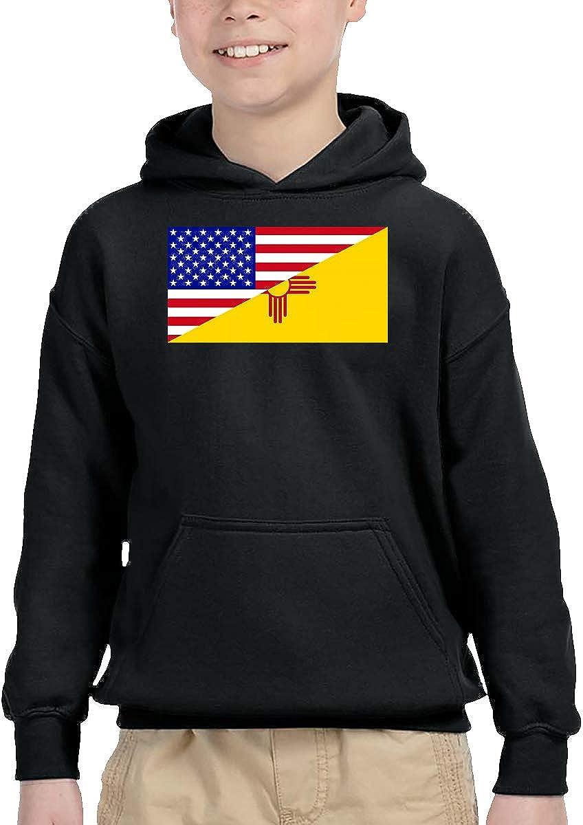 UGFGF-1S Half USA Half New Mexico Flag Toddler Boys Girls Long Sleeve Sweatshirt Pullover Hoodie 2-6T