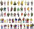 Hiawbon 50 Pcs People Figurines Set Tiny Sitting and Standing Delicate Hand Painted People Model Train Park Street People Figures for Miniature Scenes,1:87 Scale