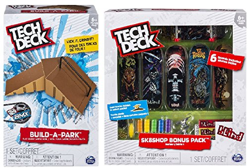 Tech Deck Build-A-Park - Flat Ramp Grind Rail (Brown) and a Tech Deck Sk8shop Bonus Pack (styles vary) Including Blizy keychain